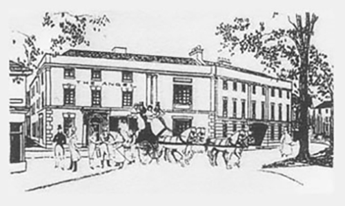 Historic drawing of The Angel Hotel Leamington
